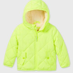 Cat & Jack Unisex Quilted Puffer Jacket Neon Lime